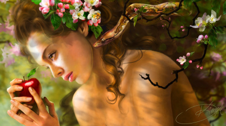 r169_457x256_1394_Temptation_Of_Eve_2d_illustration_snake_apple_eve_girl_female_woman_picture_image_digital_art